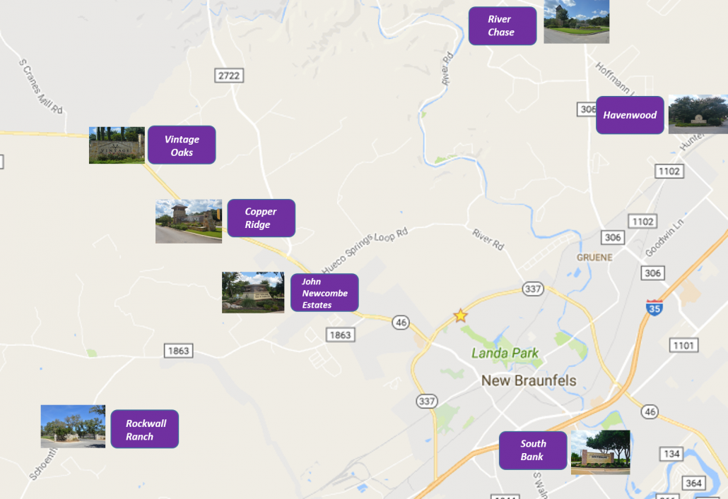 Map of New Braunfels Neighborhoods & Subdivisions